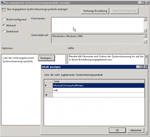 Systemsteuerungssysmbole Drucker Mail