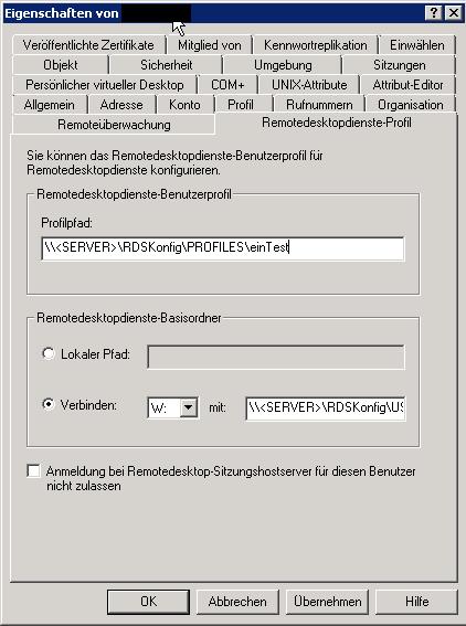 Terminaldienste Profile Basisordner