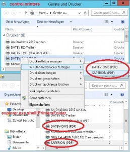 Control.exe printers Unterschied explorer.exe shell:PrintersFolder