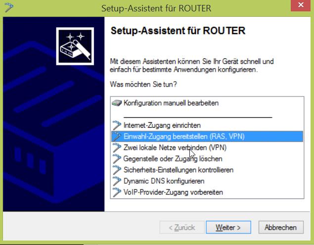 Einwahl-Zugang bereitstellen (RAS, VPN)