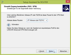 IP oder FQDN eingeben