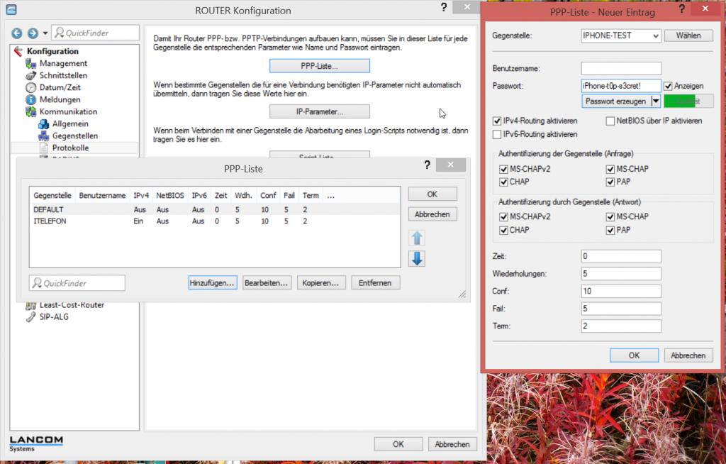 PPP Parameter konfigurieren