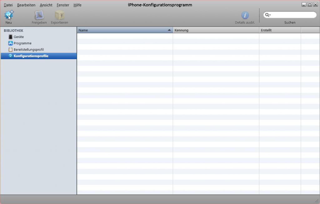 iOS Konfigurationsprofil erstellen