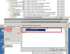Internet Explorer Liste der Site zu Zonenzuweisung