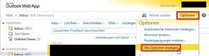 OWA Optionen Shared Mailbox gesendete Mails