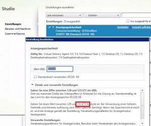 XenApp 7.5 / 7.6 Anzeigenspeicherlimit