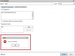 Netcaler 10.1 Custom Monitor Fehler