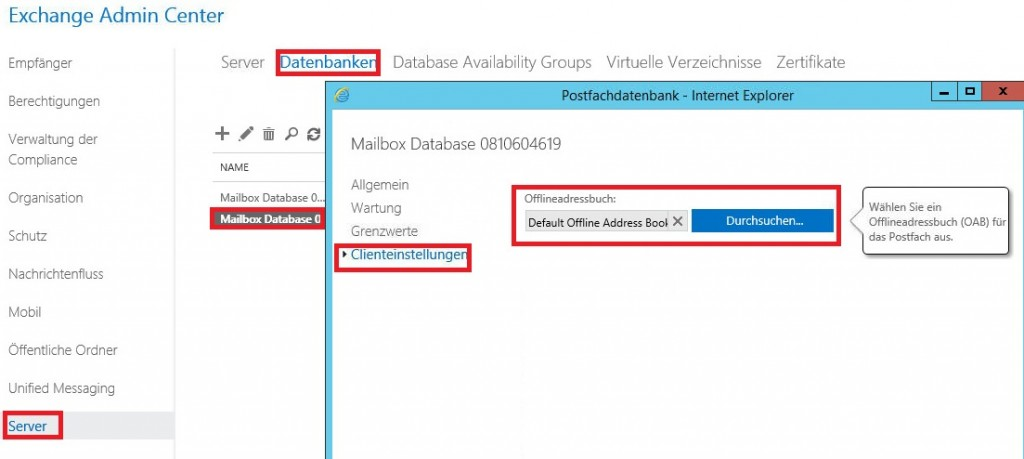 Exchange 2016 Offline Address Book anpassen