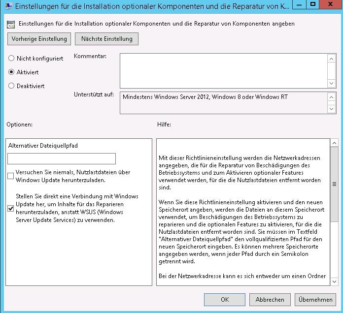 DotNet 3.5 Einstellungen für die Installation optionaler Komponenten