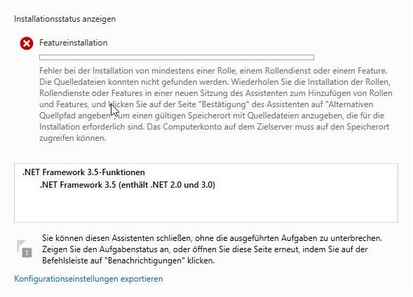 DotNet 3.5 Quelle nicht gefunden