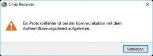 Citrix Receiver Protokollfehler Authentifizierungsdienst