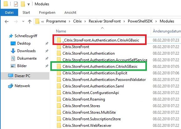 Storefront Server 3.13 Ordner umbenannt