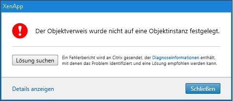 XenApp 7.18 Objektverweis Objektinstanz Error Id XDMI 619E0143