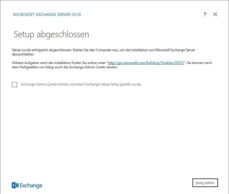Exchange Server 2019 Setup abgeschlossen