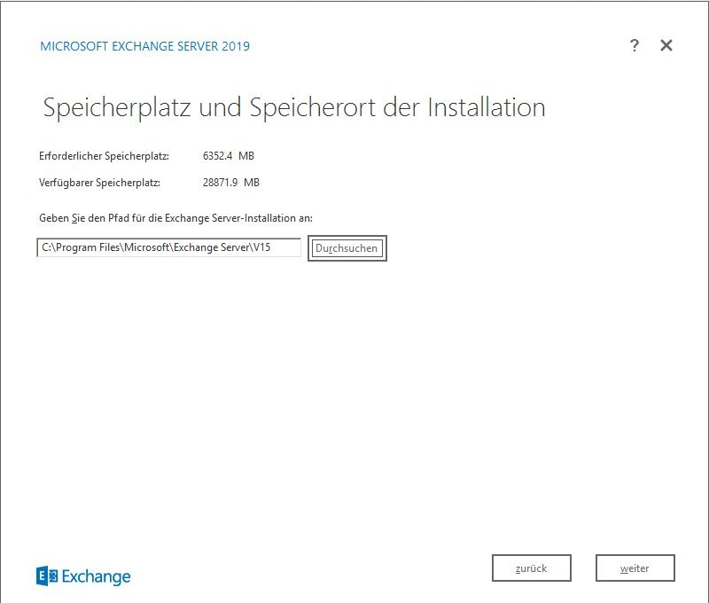 Exchange Server 2019 Speicherort