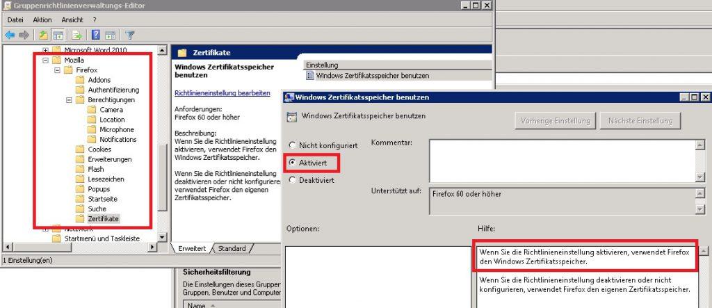 Firefox GPO ADMX Windows Zertifikatsspeicher benutzen