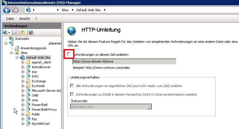 inetmgr HTTP-Umleitung aus