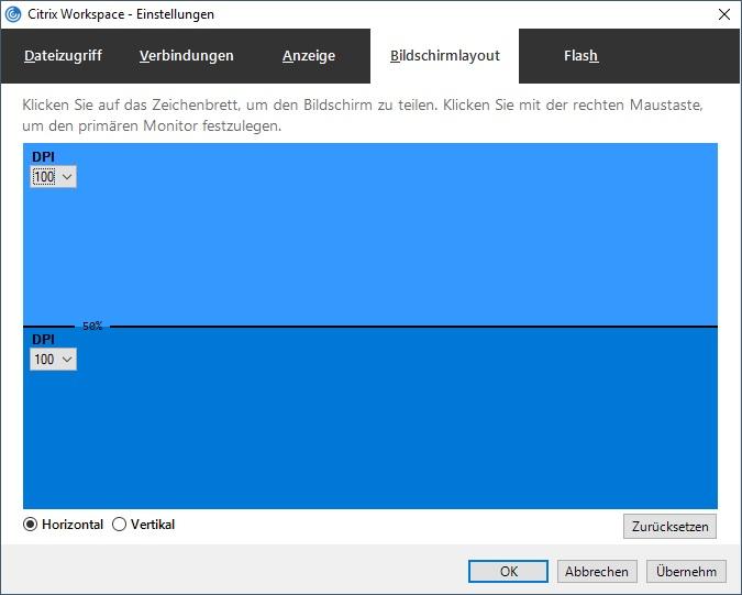 Workspace App 1812 virtueller Monitor horizontal