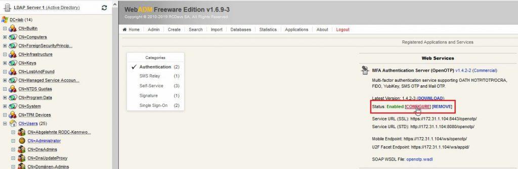 Multi-Faktor-Authentifizierung RCDevs OpenOTP Configure