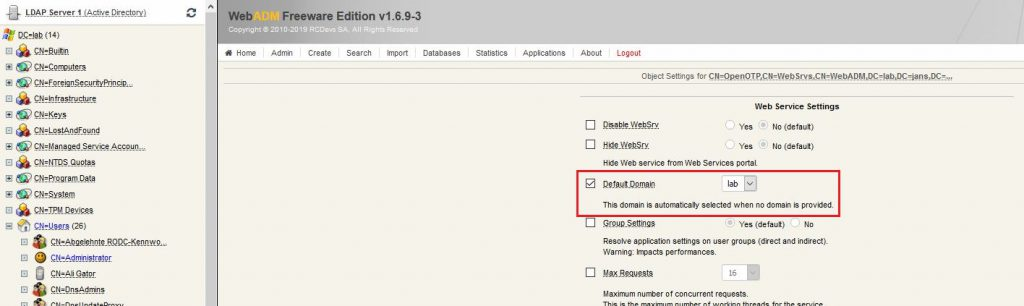 RCDevs OpenOTP Configure Domain