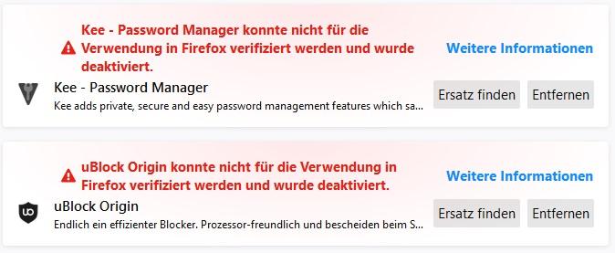 Add-On konnte nicht für die Verwendung in Firefox verifiziert werden und wurde deaktiviert