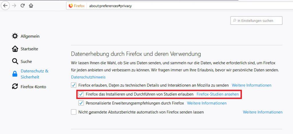 Firefox das Installieren und Durchführen von Studien erlauben