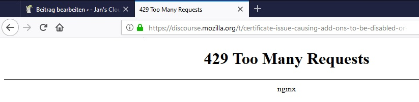 Mozilla Too Many Requests