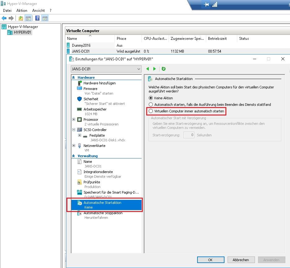 Hyper-V virtuellen Domain Controller immer automatisch starten