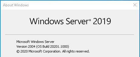 Windows Server vNext Version 2004 Build 20201
