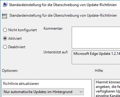 MS Edge GPO nur automatische Updates im Hintergrund