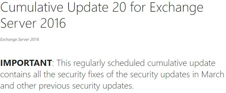 Exchange Server 2016 CU20